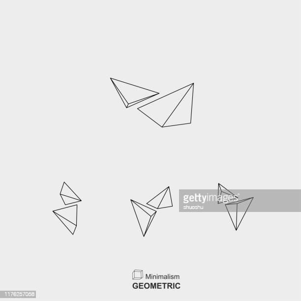 satz von minimalismus linie stil dreieck gruppe symbol für design - kristalle stock-grafiken, -clipart, -cartoons und -symbole
