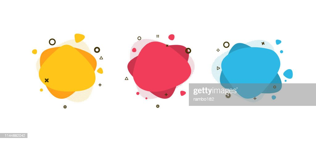 Set of modern abstract liquid shapes and banners. Fluid design. Isolated gradient waves with geometric lines, dots. Vector Illustration. Vibrant badges. : stock illustration