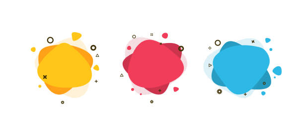 set of modern abstract liquid shapes and banners. fluid design. isolated gradient waves with geometric lines, dots. vector illustration. vibrant badges. - bubble stock illustrations