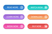 Set of modern buttons for web site and ui. Vector icon.