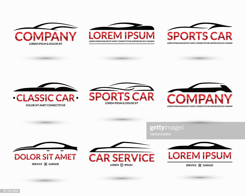 Set of modern car logo design templates. Vector illustration