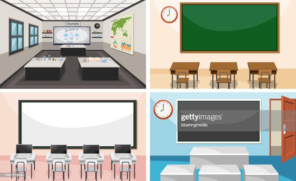 Set of modern classroom