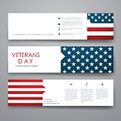 Set of modern design banner template in veterans day style