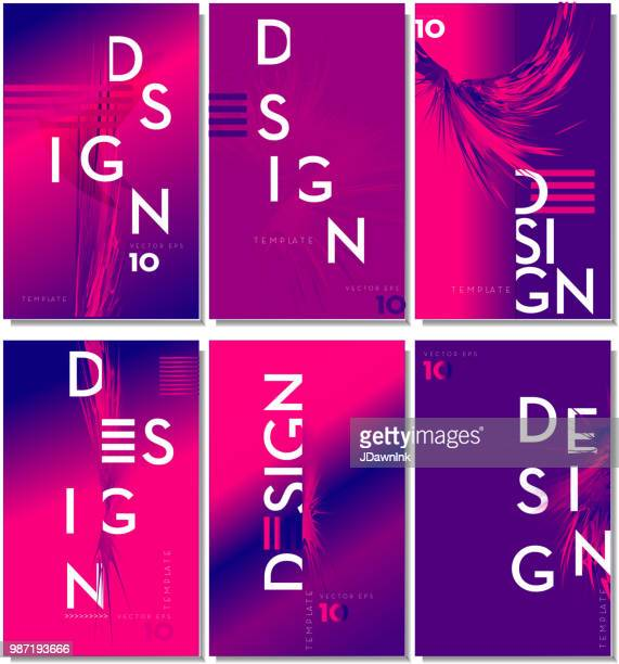 set of modern design templates with sample text with trendy typography - magazine cover stock illustrations