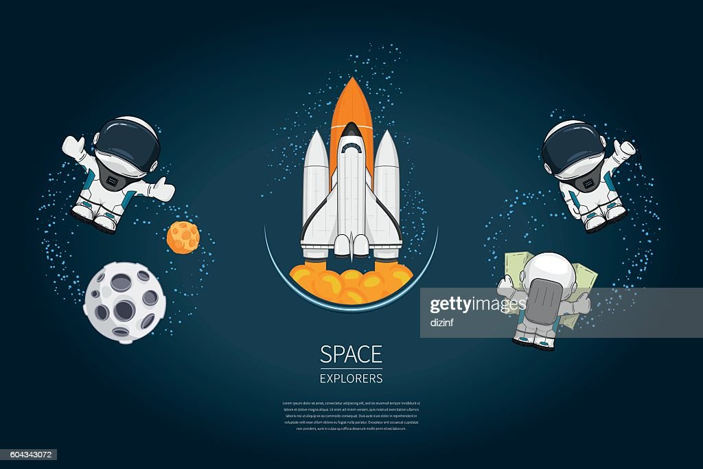 Set of Modern design vector illustration withSpace Shuttle Launch, astronaut,