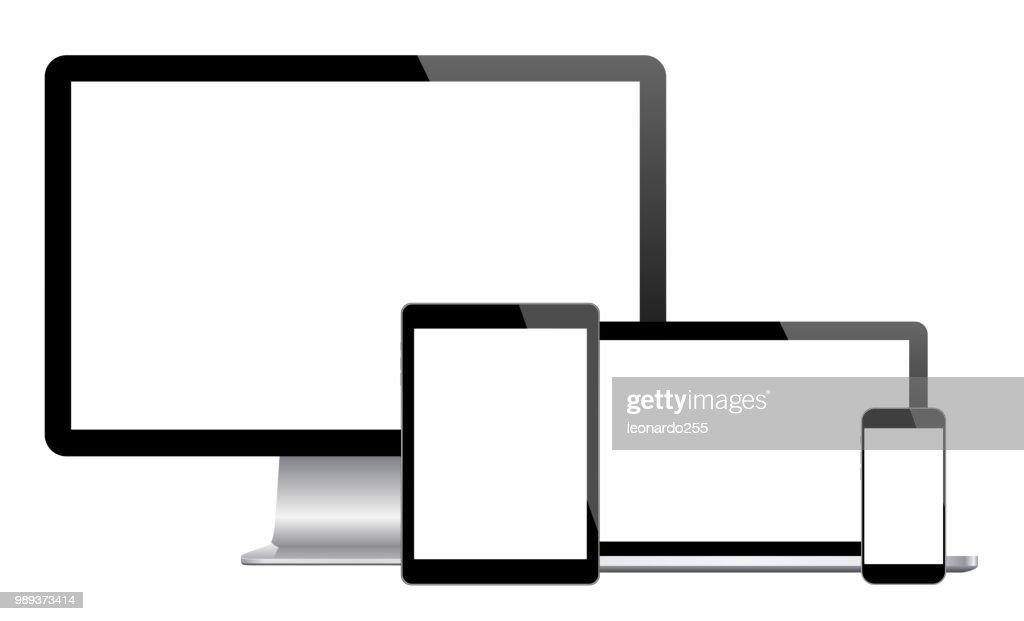 Set of modern electronic devices - computer monitor, laptop, tablet, smartphone. Mockups to showcase your web-site design
