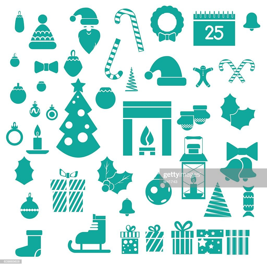 Set of modern flat Christmas icons for infographic