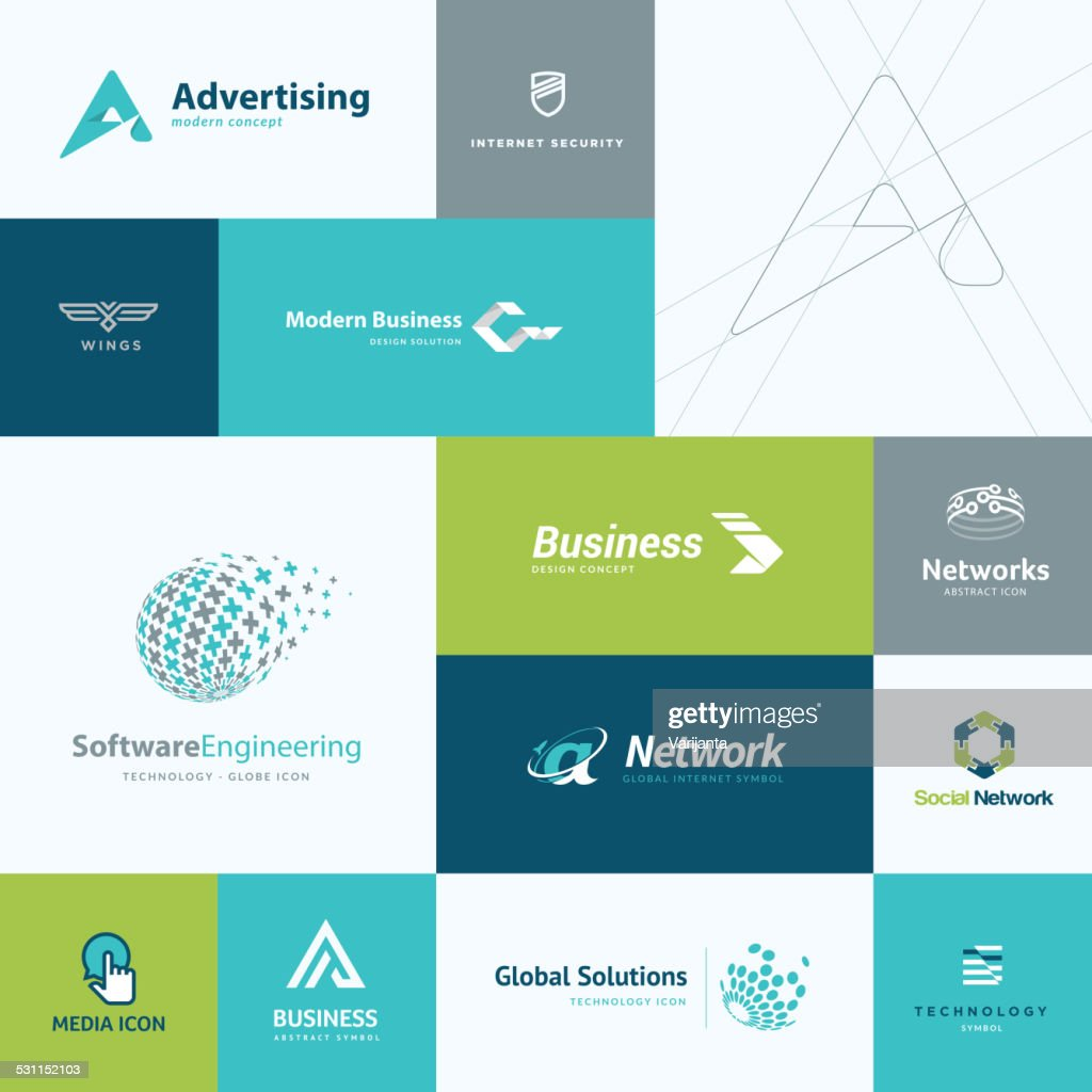 Set of modern flat design business and technology icons