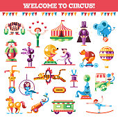 Set of modern flat design circus and carnival icons, infographics