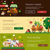 Set of modern flat design farm and agriculture icons, elements