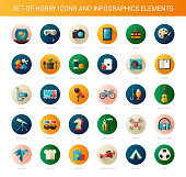 Set of modern flat design hobby icons and infographics elements
