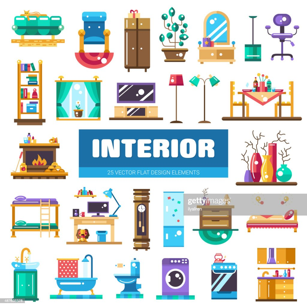 Set of modern flat design interior icons and elements. Domestic