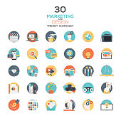Set of modern flat design Marketing and Design icons