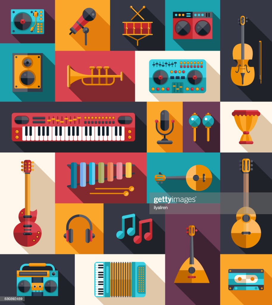 Set of modern flat design musical instruments and music tools