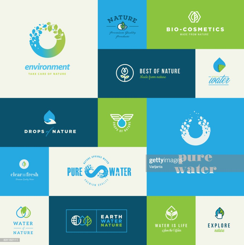 Set of modern flat design nature icons
