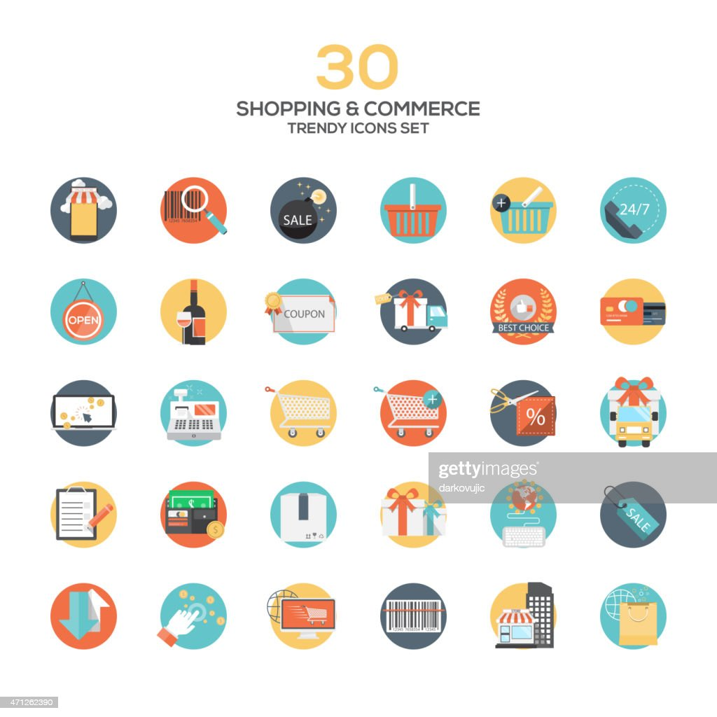 Set of modern flat design Shopping and commerce icons