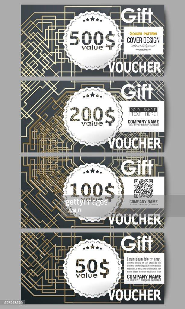 Set of modern gift voucher templates. Golden technology pattern on