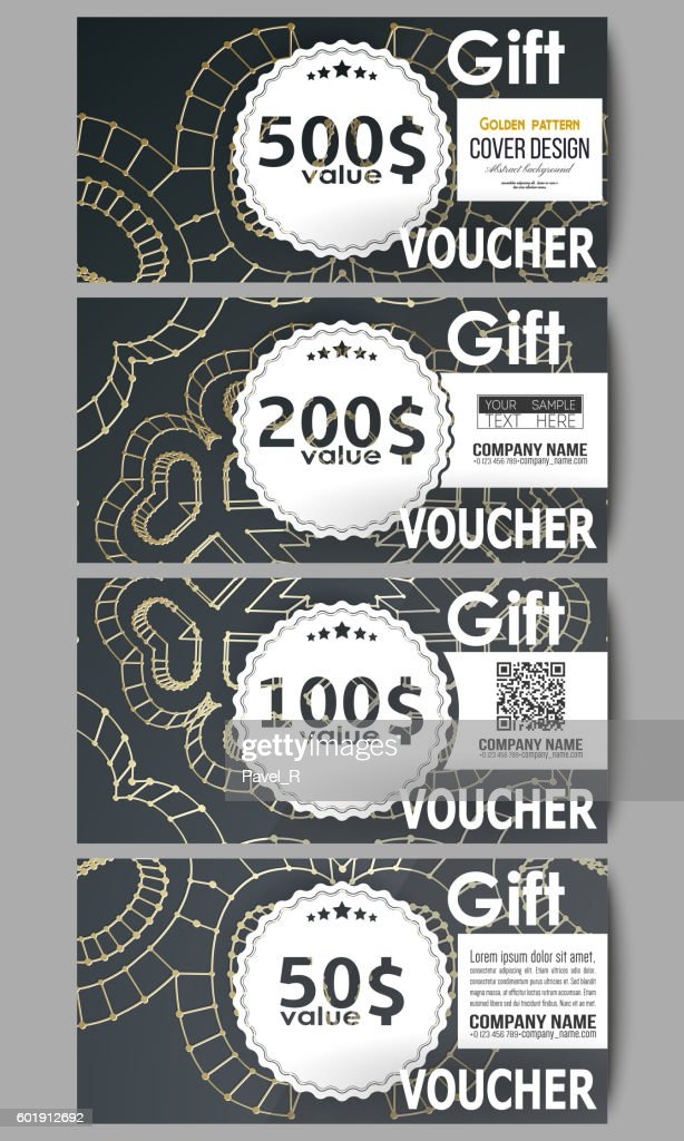 Set of modern gift voucher templates. Polygonal backdrop with golden