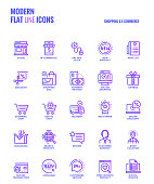 Set of Modern Gradient flat line Shopping and E commerce icons