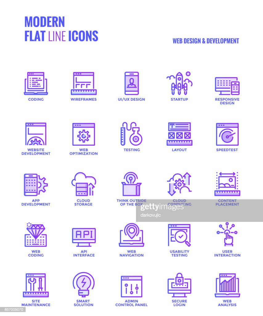 Set of Modern Gradient flat line Web design and Development icons