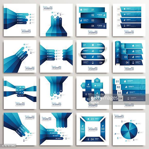 set of modern infographics elements - four objects stock illustrations
