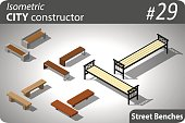 Set of modern isometric street benches