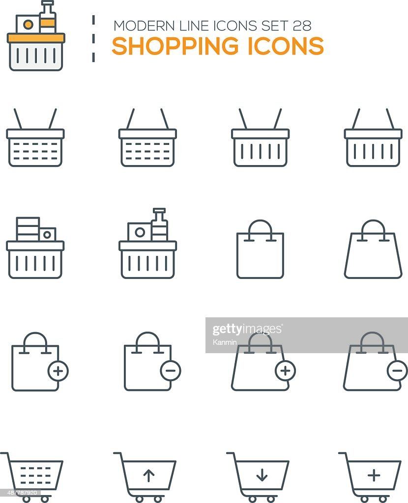 Set of Modern Line icons of Shopping icons