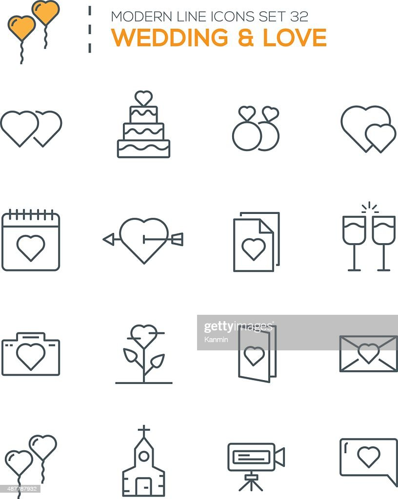 Set of Modern Line icons of Wedding icons