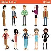 Set of modern people, men and women