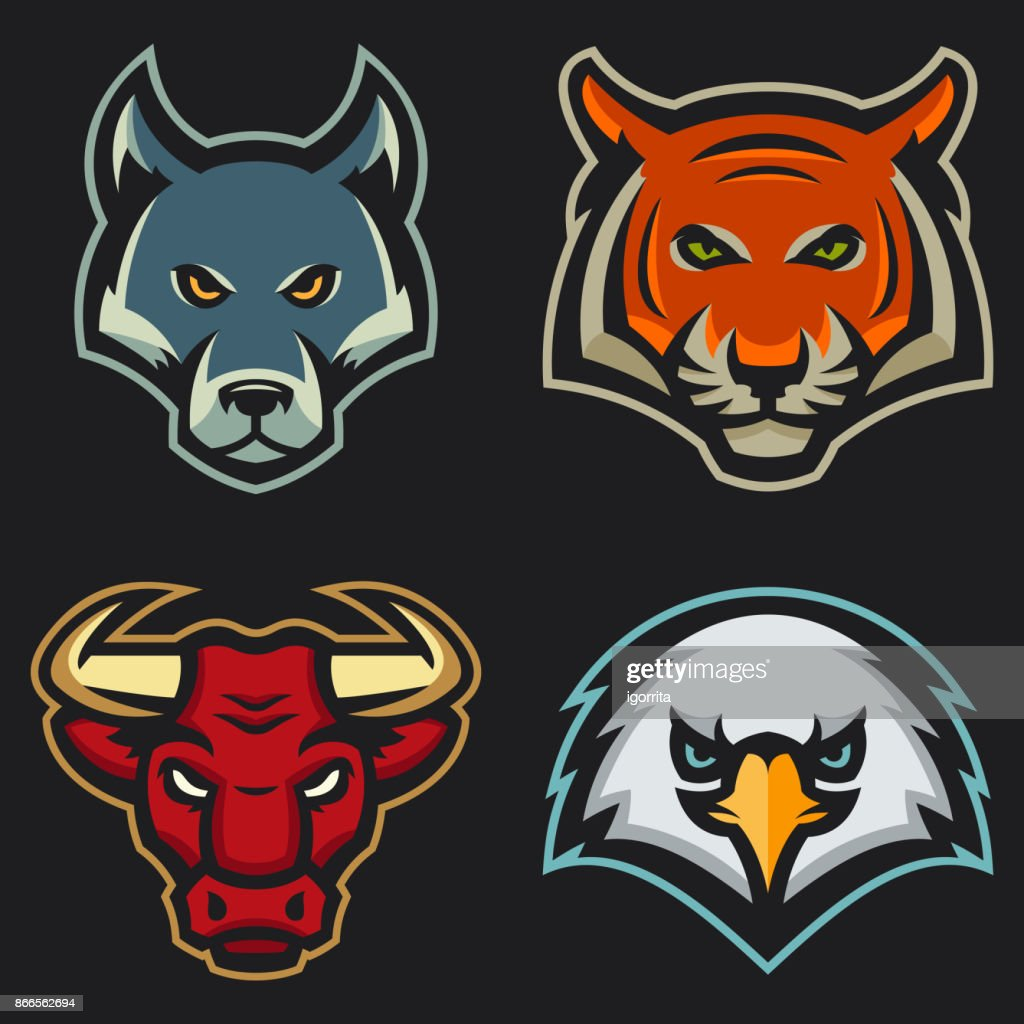 set of modern professional animal mascots for a sport team