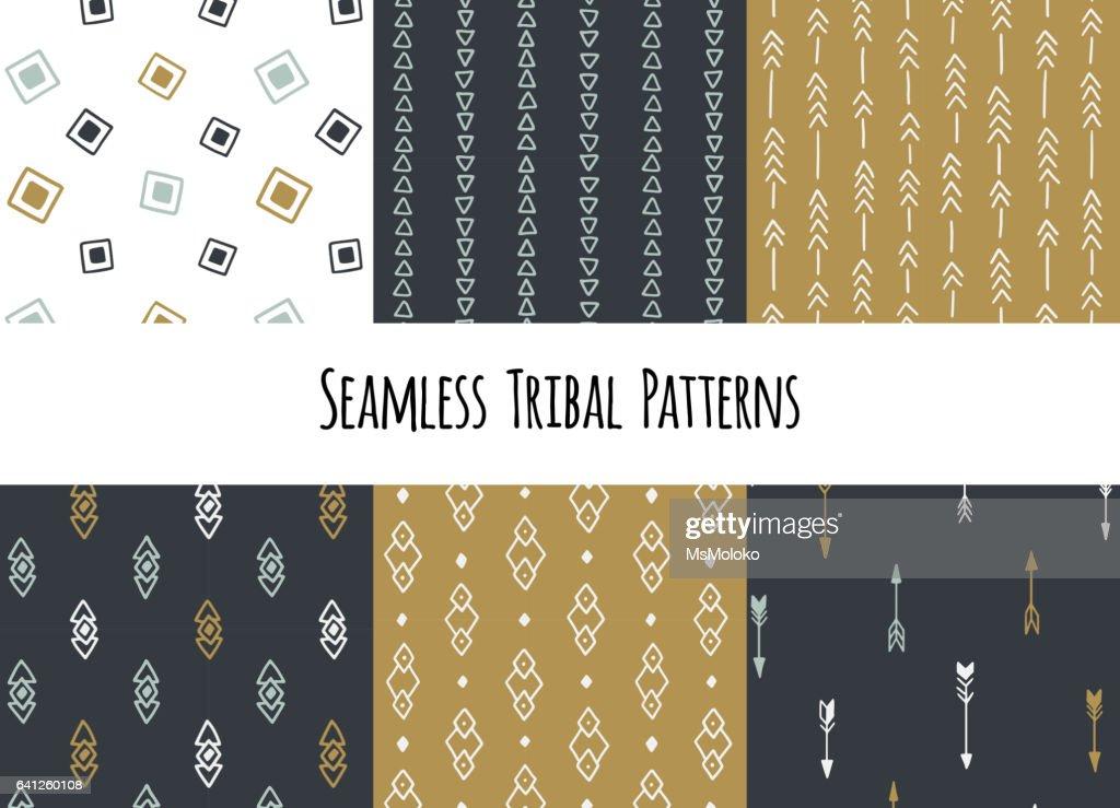 Set of modern seamless hand drawn geometric tribal patterns. Vector navajo design