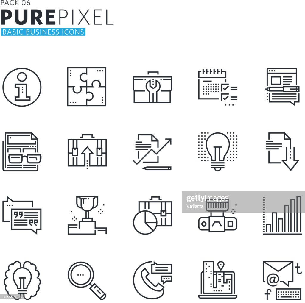 Set of modern thin line pixel perfect basic business icons