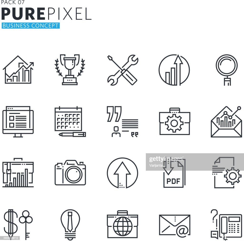 Set of modern thin line pixel perfect business concept icons