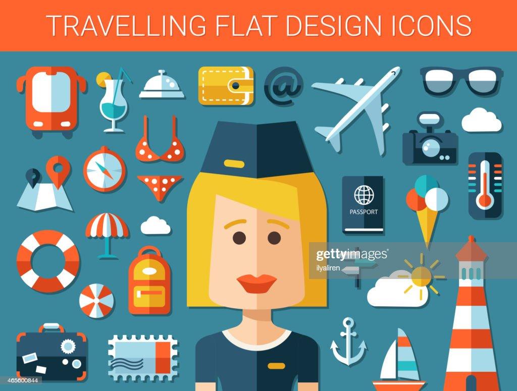 Set of modern travel flat design icons