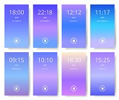 Set of modern user interface, ux, ui screen wallpapers for smart phone. Mobile Application. Ultra violet, purple and blue color gradients.