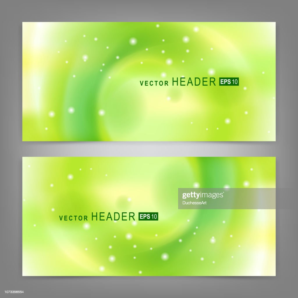 Set of modern vector banners with abstract futuristic green circle. Vector illustration