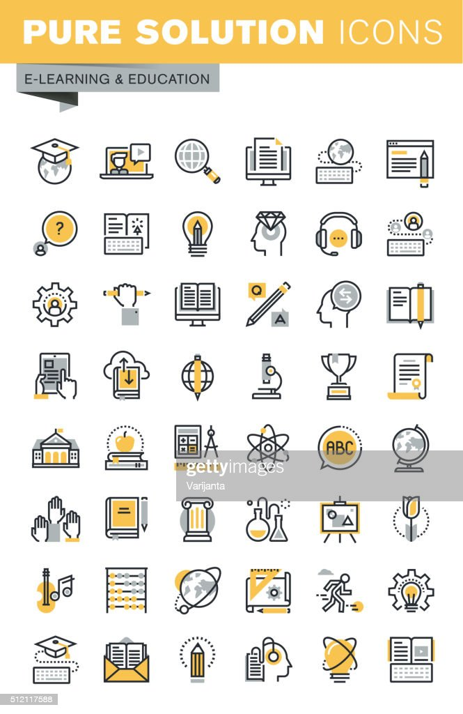 Set of modern vector thin line education icons