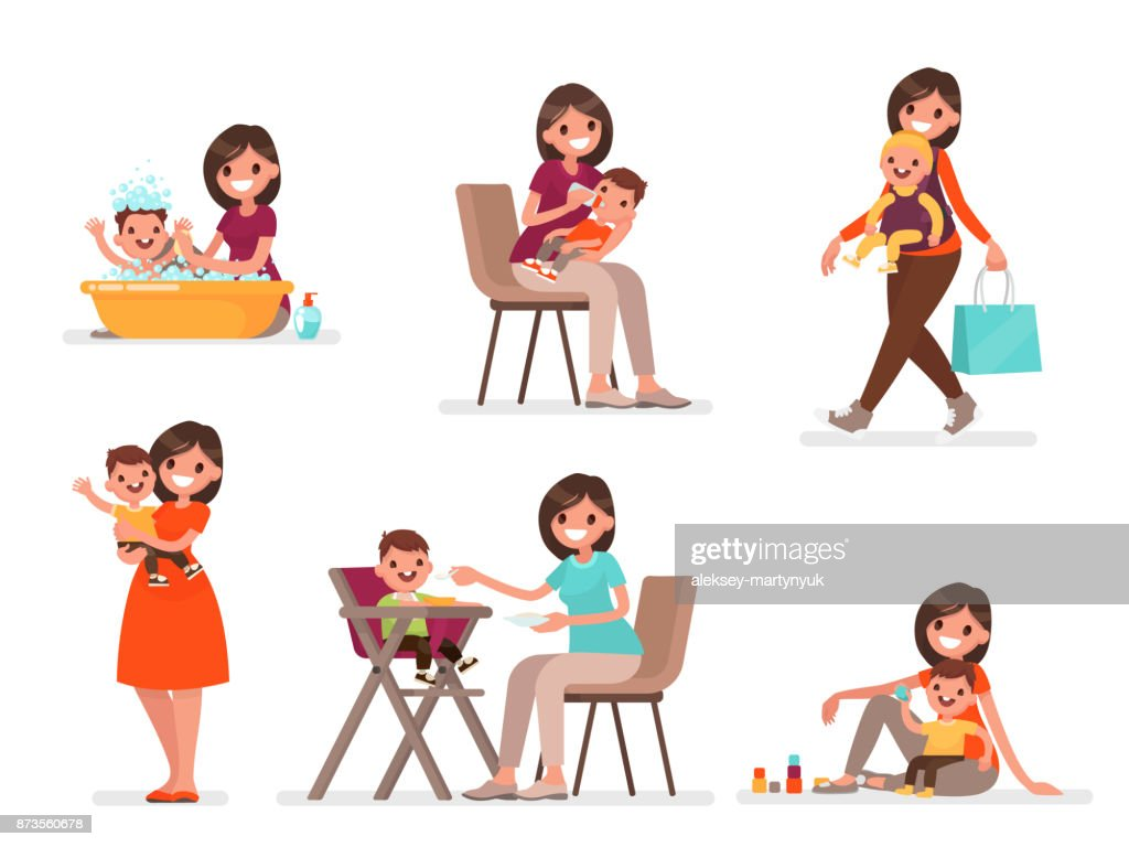 Set of mom and baby. Mother feeds, bathes and plays with the child. Vector illustration in a flat style