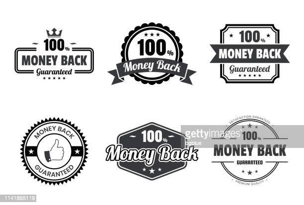 """set of """"money back"""" black badges and labels - design elements - service stock illustrations"""