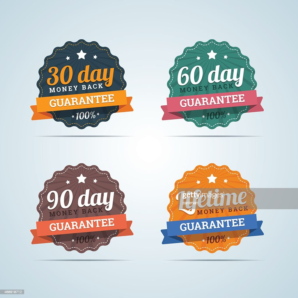 Set of money back guarantee badges in flat style.