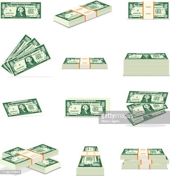 geldmenge. dollar - amerikanische währung stock-grafiken, -clipart, -cartoons und -symbole