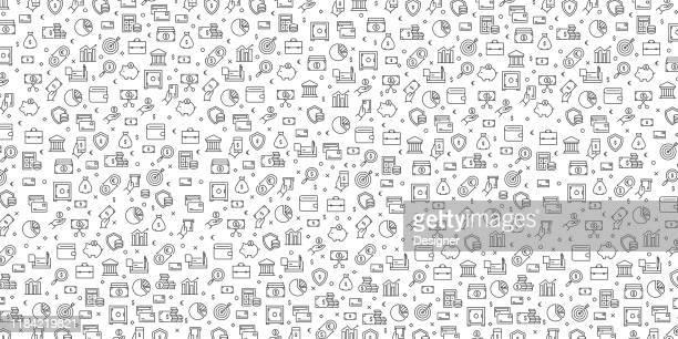 ilustraciones, imágenes clip art, dibujos animados e iconos de stock de conjunto de diseño de patrones vectoriales de iconos relacionados con el dinero - dinero