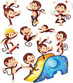 A set of monkey character