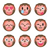 Set of monkey emoticons.