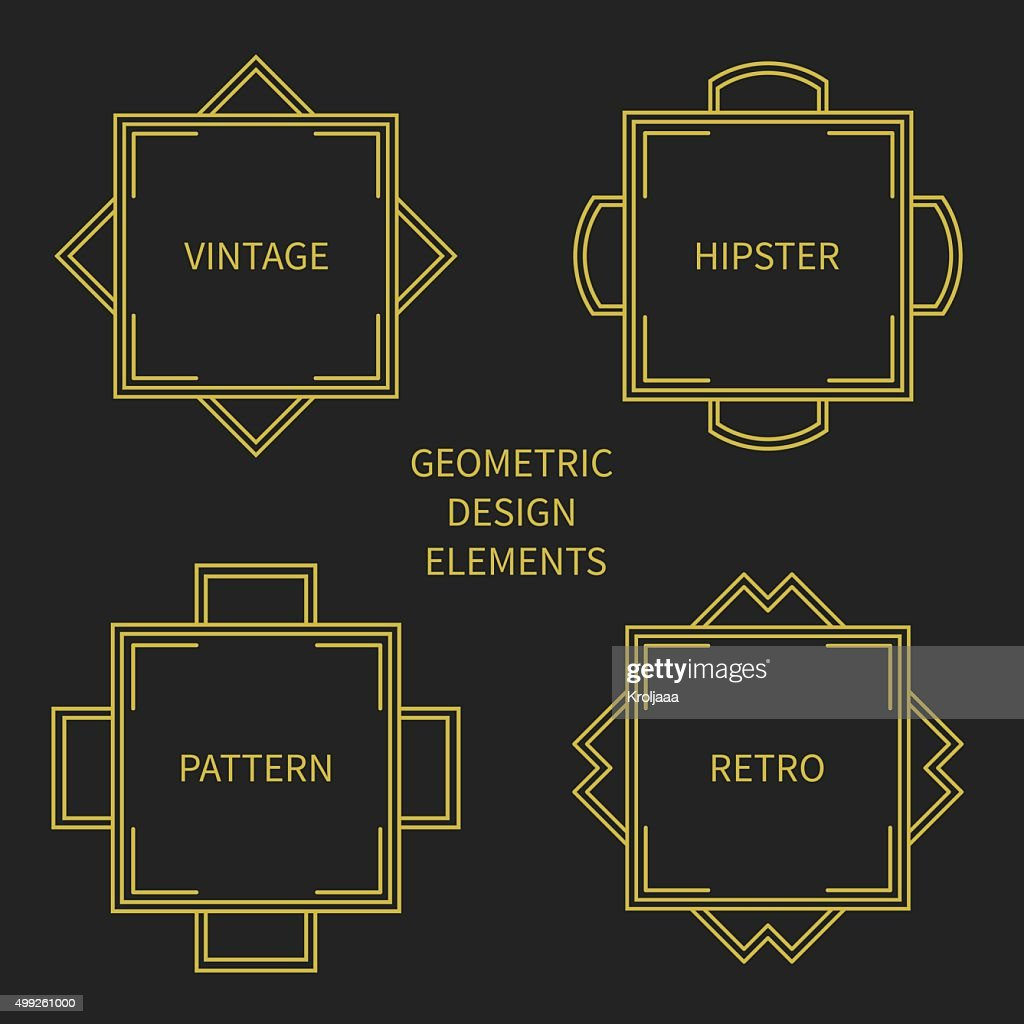 Set of mono line retro frame. Design border. Labels, badges.