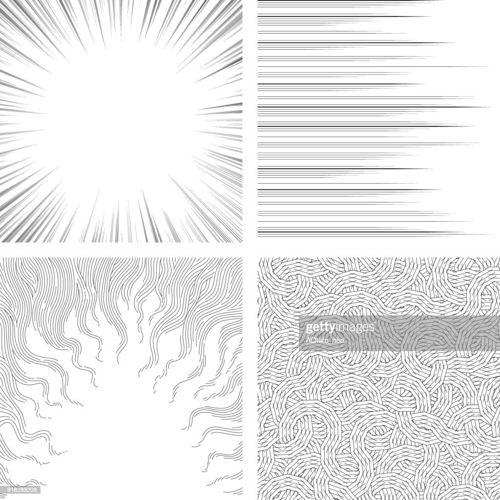 Set of monochrome backgrounds for comic books