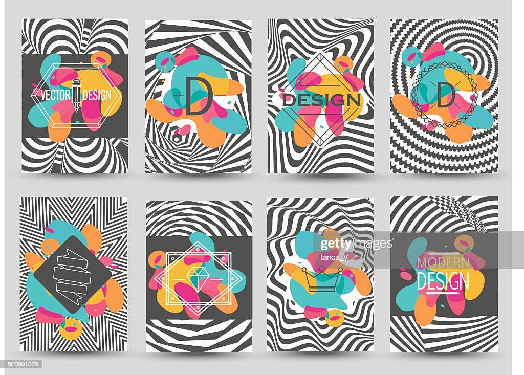 Set of monochrome flyer pages with abstract colored elements.