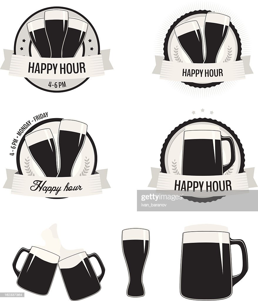 Set of monochrome happy hour labels and beer icons