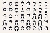 Set of monochrome icons. Hearstyle and beards.