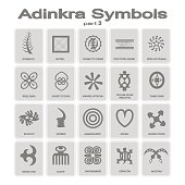 set of monochrome icons with adinkra symbols
